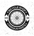 bicycle round retro emblem with bike wheel vector image vector image