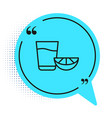 black line tequila glass with lemon icon isolated vector image vector image