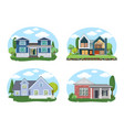 buildings set flat design houses set vector image vector image