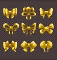cartoon golden satin bows set vector image vector image