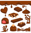 chocolate dessert and candy icons vector image