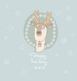christmas greeting card with cute deer and vector image vector image