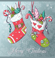 christmas socks with gifts vector image vector image