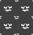 Cock-fights icon sign Seamless pattern on a gray vector image