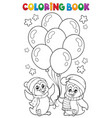 coloring book party penguins 1 vector image vector image