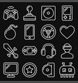 computer video game icons set on black background vector image vector image