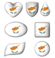Cyprus Flag in various shape glossy button vector image vector image