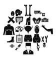 dissection icons set simple style vector image vector image
