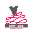 fashion boutique with designers clothes logotype vector image vector image