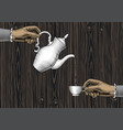 female hands with a coffee cup and a coffee pot vector image vector image