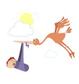 flying bird holds a baby in the beak vector image vector image
