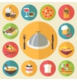 Food icons set for cooking restaurant fast food vector image