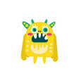 funny yellow cartoon monster fabulous incredible vector image vector image