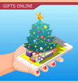 gifts online isometric composition vector image vector image