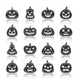halloween pumpkin monochrome silhouette icon set vector image vector image