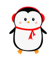 happy new year penguin icon red headphones hat vector image vector image