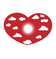 heart with sun and clouds icon concept vector image vector image