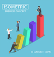 Isometric businessman eliminate his rival vector image vector image