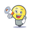 light bulb character cartoon with megaphone vector image vector image