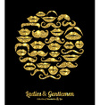 Lips and Moustaches gold set Design glitter icons vector image vector image