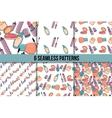 Makeup seamless pattern set vector image