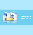 milk products set with cheese cottage and butter vector image vector image