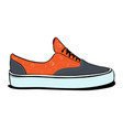 pair of sneakers a side view in orange color vector image