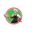 Pizza Maker Holding Peel Circle Retro vector image vector image
