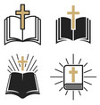 religious community set emblem with holy bible vector image