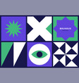 set bright square cards with abstract vector image vector image