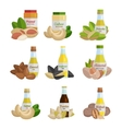 set butter and nut oil vector image
