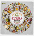 set of russian food cartoon doodle objects vector image