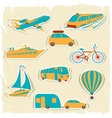 set tourist transport stickers vector image