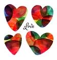 set watercolor hearts happy valentine day vector image