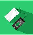 smartphone connected to power bank top view vector image vector image