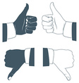 Thumbs up and down Drawn by hands icons Flat style vector image
