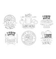 time to lunch hand drawn retro labels set organic vector image vector image