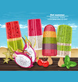 tropic fruits ice cream hot summer banner vector image vector image