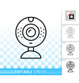 web camera simple black line icon vector image