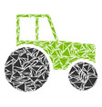 wheeled tractor mosaic of triangles vector image vector image