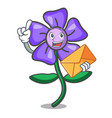with envelope periwinkle flower character cartoon vector image