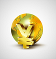 World economic concept with 3d gold world and Yen vector image vector image