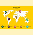 world map infographic 5 multi-colored pins on the vector image vector image
