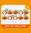 write each missing number worksheet vector image vector image