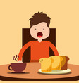 young happy boy sitting eating breakfast on table vector image vector image