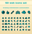 50 blue web icons set vector image
