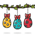 easter eggs hanging on the branch colorful vector image