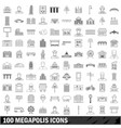 100 megapolis icons set outline style vector image vector image