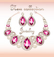 a set of jewelry necklace and earrings with a vector image vector image