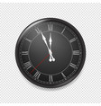 black retro wall clock isolated on transparent vector image